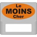 """Casquette amovible pour étiquettes avec texte """"Le moins cher"""" noir sur fond orange"""