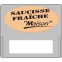 """Casquette amovible pour étiquettes avec texte """"Saucisse fraîche """"maison"""""""" noir sur fond beige"""