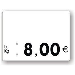 Etiquette prix Boucherie imprimée vierge Fond Blanc Texte Noir