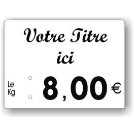 Etiquette prix imprimée titrée Fond Blanc Texte Noir petit format