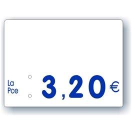 Etiquette prix imprimée vierge Fond Blanc Texte Bleu petit format