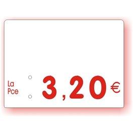 Etiquette prix imprimée vierge Fond Blanc Texte Rouge petit format