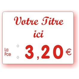 Etiquette prix imprimée titrée Fond Blanc Texte Rouge petit format