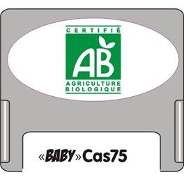 """Casquette amovible pour étiquettes avec texte """"BIO"""" vert sur fond blanc"""