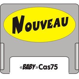 """Casquette amovible petit format pour étiquettes avec texte """"Nouveau"""" noir sur fond jaune"""
