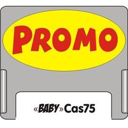 """Casquette amovible petit format pour étiquettes avec texte """"Promo"""" noir sur fond rouge"""