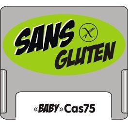 """Casquette amovible petit format pour étiquettes avec texte """"Sans gluten"""" noire sur fond vert"""