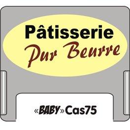 """Casquette petit format amovible pour étiquettes avec texte """"Patisseie pur beurre"""" noir et marron sur fond creme"""