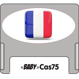 Casquette amovible petit format pour étiquettes avec drapeau français sur fond blanc