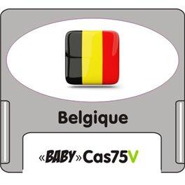 """Casquette amovible petit format pour étiquettes avec texte """"belgique"""" noire et drapeau belge sur fond blanc"""