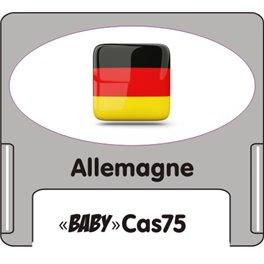 """Casquette amovible petit format pour étiquettes avec texte """"Allemagne"""" noire et drapeau allemand sur fond blanc"""