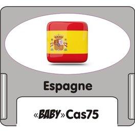 """Casquette amovible petit format pour étiquettes avec texte """"Espagne"""" noire et drapeau espagnol sur fond blanc"""