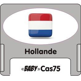 """Casquette amovible petit format pour étiquettes avec texte """"Hollande"""" noire et drapeau hollandais sur fond blanc"""