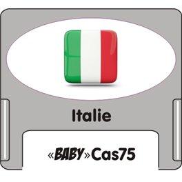 """Casquette amovible petit format pour étiquettes avec texte """"Italie"""" noire et drapeau italien sur fond blanc"""