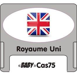 """Casquette amovible petit format pour étiquettes avec texte """"Royaume uni"""" noire et drapeau britanique sur fond blanc"""