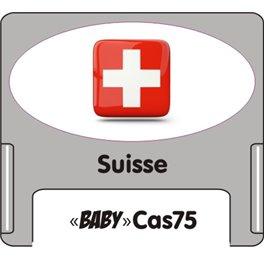 """Casquette amovible petit format pour étiquettes avec texte """"Suisse"""" noire et drapeau suisse sur fond blanc"""