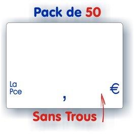 Pack d'étiquettes blanches texte bleu sans trous petit format