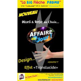 BIG FLECHE Ovale Noire Fond feu d'artifice / Texte AFFAIRE DU JOUR Blanc, Jaune et Bleu