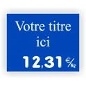 Pique-prix POISSONNERIE gravée titrée 914 Fond Bleu / Texte Blanc